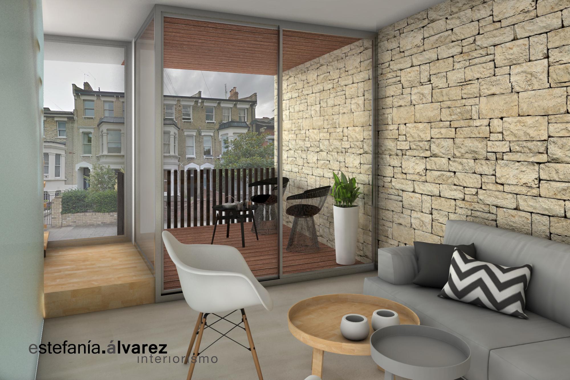 imagen de un salón de estilo nórdico que da a una terraza