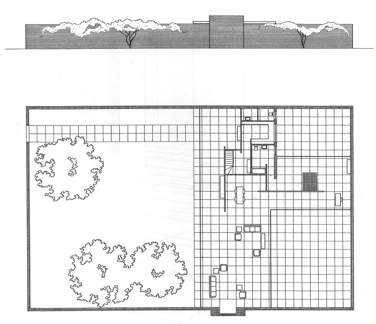 Casa con tres patios, Mies van der Rohe, 1934 (dibujo 1939). Planta y alzado